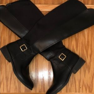 Black Knee high boots with gold buckle ✨